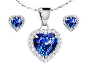"""Mabella Heart Shaped Created Blue Sapphire Pendant & Earring in Sterling Silver with 18"""" Chain"""