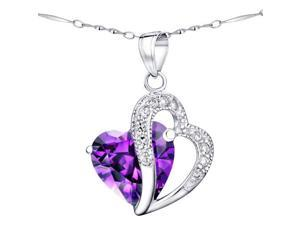 "Mabella 6.02 cttw Heart Shaped 12mm x 12mm Created Amethyst Pendant in Sterling Silver with 18"" Chain"