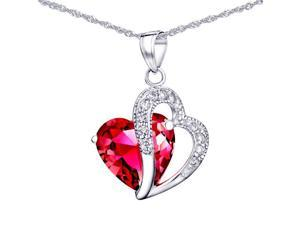 "Mabella 6.02 cttw Heart Shaped 12mm x 12mm Created Ruby Pendant in Sterling Silver with 18"" Chain"