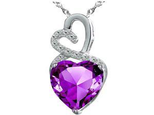 """Mabella 4.0cttw Heart Shaped 10mm Created Amethyst Pendant in Sterling Silver with 18"""" Chain"""