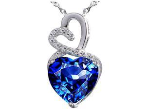 "Mabella 4.0cttw Heart Shaped 10mm Created Blue Sapphire Pendant in Sterling Silver with 18"" Chain"