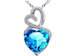 "Mabella 4.0cttw Heart Shaped 10mm Created Blue Topaz Pendant in Sterling Silver with 18"" Chain"