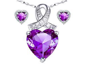 "Mabella Lovely Heart Cut Created Amethyst Pendant & Earring Set Sterling Silver w/ 18"" Chain"