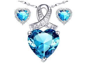 "Mabella Lovely Heart Cut Created Blue Topez Pendant & Earring Set - Sterling Silver, 18"" Chain"