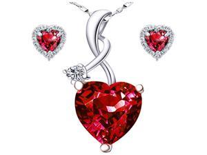 "Mabella Charming Heart Cut Created Ruby Pendant & Earring Set - Sterling Silver, 18"" Chain"