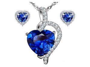 "Mabella Pretty Heart Cut Created Blue Sapphire Pendant & Earring Set - Sterling Silver, 18"" Chain"