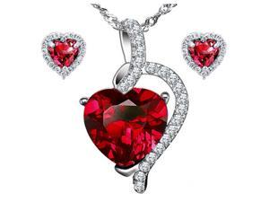 "Mabella Pretty Heart Cut Created Ruby Pendant & Earring Set - Sterling Silver, 18"" Chain"