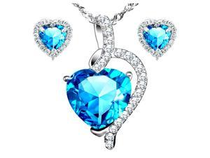 "Mabella Pretty Heart Cut Created Blue Topez Pendant & Earring Set Sterling Silver w/ 18"" Chain"
