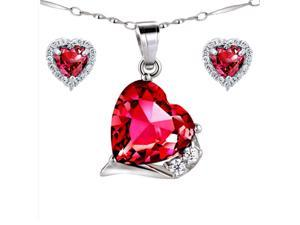 "Mabella Lovely Heart Cut Created Ruby Pendant & Earring Set - Sterling Silver, 18"" Chain"