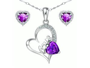 "Mabella Pretty Heart Cut Created Amethyst Pendant & Earring Set - Sterling Silver, 18"" Chain"