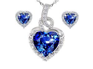 "Mabella Beauty Heart Cut Created Blue Sapphire Pendant & Earring Set - Sterling Silver, 18"" Chain"