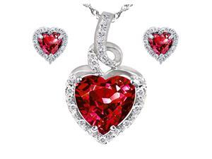 "Mabella Beauty Heart Cut Created Ruby Pendant & Earring Set in Sterling Silver, 18"" Chain"