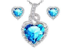 "Mabella Beauty Heart Cut Created Blue Topez Pendant & Earring Set - Sterling Silver, 18"" Chain"