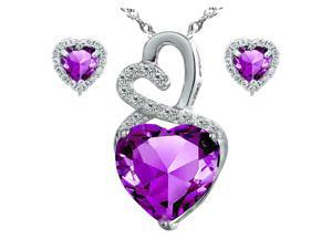"Mabella Eternity Heart Cut Created Amethyst Pendant & Earring Set - Sterling Silver, 18"" Chain"