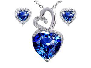 "Mabella Eternity Heart Cut Created Blue Sapphire Pendant & Earring Set - Sterling Silver, 18"" Chain"