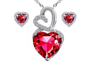 "Mabella Eternity Heart Cut Created Ruby Pendant & Earring Set - Sterling Silver, 18"" Chain"