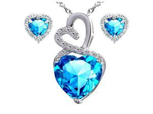 "Mabella Eternity Heart Cut Created Blue Topez Pendant & Earring Set - Sterling Silver, 18"" Chain"