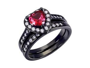 Mabella 0.75Ct (6mm) Created Ruby Heart Cut Sterling Silver Black Wedding Women's Ring Set - Size 6