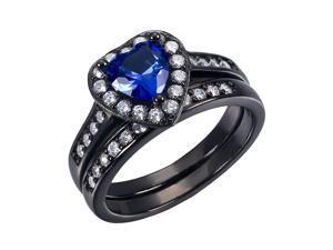 Mabella 0.75Ct (6mm) Created Blue Sapphire Heart Cut Sterling Silver Black Wedding Women's Ring Set - Size 9