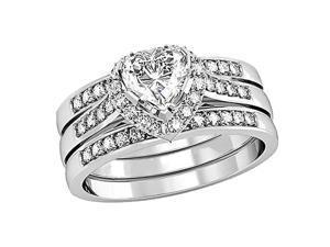 Mabella 0.75Ct (6mm) Heart Cut Sterling Silver 3 pcs Wedding Women's Ring Set - Size 8