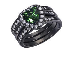 Mabella 0.75Ct (6mm) Created Emerald Heart Cut Sterling Silver 3 pcs Black Wedding Women's Ring Set - Size 10
