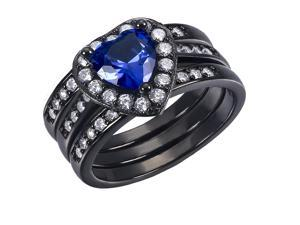 Mabella 0.75Ct (6mm) Created Blue Sapphire Heart Cut Sterling Silver 3 pcs Black Wedding Women's Ring Set - Size 9