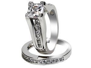 Mabella 1.25Ct (6mm) Princess Cut .925 Sterling Silver Women's Wedding Ring Set - Size 10