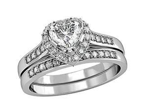Mabella 0.75Ct (6mm) Heart Cut Sterling Silver Wedding Women's Ring Set - Size 8