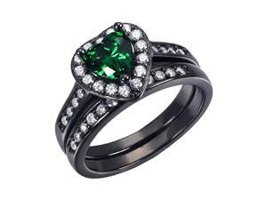 Mabella 0.75Ct (6mm) Created Emerald Heart Cut Sterling Silver Black  Wedding Women's Ring Set - Size 10
