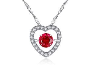 "Mabella Sterling Silver 0.50ct Round Cut Created Ruby Heart Style Dancing Pendant with 18"" Chain"