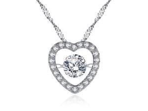 "Mabella Sterling Silver 0.50ct Round Cut Cubic Zirconia Heart Style Dancing Pendant with 18"" Chain"