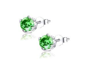 Mabella 1.0 CTTW. 5mm Round Cut Created Emerald .925 Sterling Silver Stud Earrings