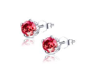 Mabella 1.0 CTTW. 5mm Round Cut Created Ruby .925 Sterling Silver Stud Earrings