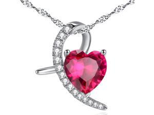 "Mabella 4.0 CTW Moon Shape Heart Cut 10mm Created Ruby Pendant Sterling Silver 18"" Chain"