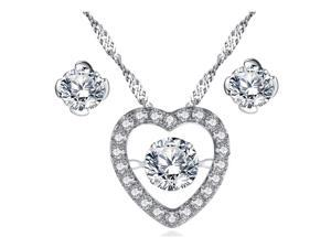 Mabella Sterling Silver 0.50ct Round Cut Cubic Zirconia Heart Shape Dancing Pendant and Earring Set
