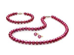 Mabella Freshwater Cranberry Red Pearl Necklace/Bracelet/Earrings 7-7.5mm AAA Quality 14k Solid Yellow Gold Clasp Bridal Jewelry Set