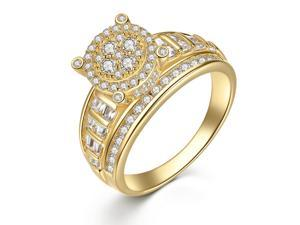 Round Cut Gold Plated Sterling Silver Women Engagement Ring Size 5