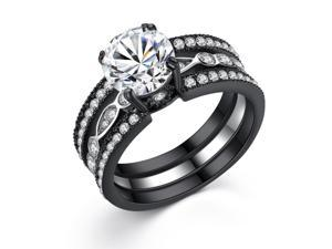 Black Stainless Steel 8mm(1.90ct) Cubic Zircornia Round Shape Women Engagement Ring Size 8