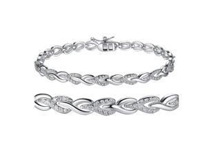 "Mabella Sterling Silver Round Cut Heart Infinity Cubic Zirconia Tennis Bracelet, 7"""