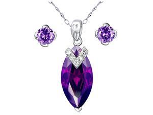 Mabella Created Amethyst Marquise Cut Sterling Silver Pendant Necklace with Free Earrings Set