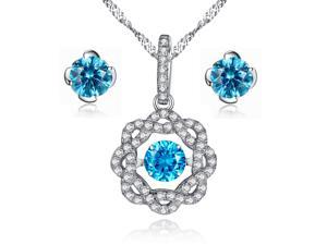 Mabella Created Blue Topaz Round Cut Flower Shape Sterling Silver Dancing Pendant Necklace with Free Earrings Set