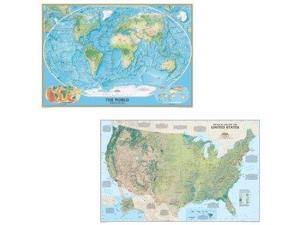 National Geographic Maps US and World Physical Laminated Map Set