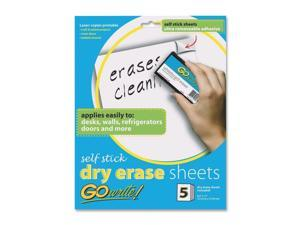 GoWrite Dry Erase Sheets - White, 5 Sheets per Pack, 8.5 X 11 Inch