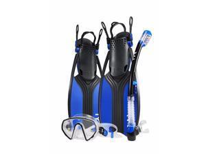 TYR Voyager Mask Snorkel Fin Set Blue/Black Size Large