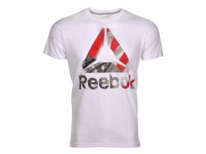 Reebok DEL Short Sleeve 60/40 Branded N White Tee Size X-Large
