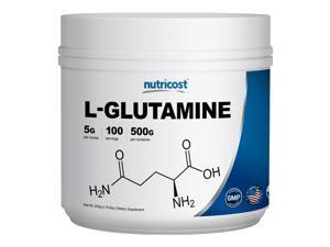Nutricost L-Glutamine Powder 1.1 LBS (500 GMS) - Pure L Glutamine - 5000mg per Serving - 100 Servings - Highest Quality