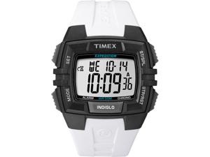 Timex T49901 Men's Chrono Alarm Timer White Resin Quartz Watch with White Dial