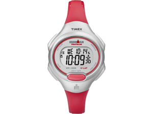 Timex T5K741 Women's Ironman 10 Lap Mid Silver-Tone Case Orange Resin Strap Watch