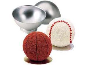 Wilton 3D SPORTS BALL CAKE PAN SET 3-D Baseball Soccer