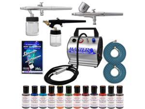 Pro CAKE DECORATING SYSTEM 3 Airbrush Kit 12 Color Food Coloring Set Compressor